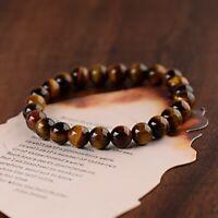 Men Classic Natural Tiger Eye Stone Gem Stone Beaded Healing Bracelets Bangle