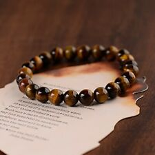 Men Classic Natural Tiger Eye Stone Gem Stone Beaded Healing Bracelets Boyfriend