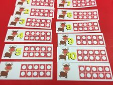 Christmas - Red Noesd Reindeer Ten-Frames - Laminated Activity Set - Teaching