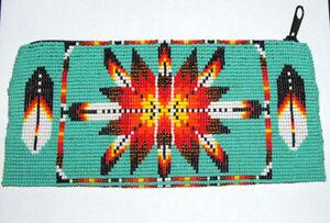"Beaded Tote Bag Eagle Feather design Fabric Lined Zips  7x3.5"" AQUA GREEN"
