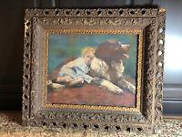 1900's Antique Victorian Saint Bernard Dog Girl Wood Carved Frame Art Picture