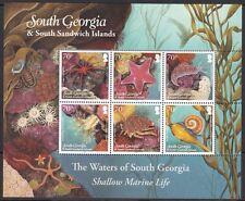 SOUTH GEORGIA : 2012 Shallow Marine Life sheetlet  SG550-5 MNH