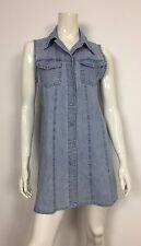 abito jeans vestito corto camicia dress kleid estivo azzurro usato donna T2133