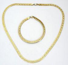 Sterling Silver Gold Plated Herringbone Necklace & Earrings Set Italian 33 Grams