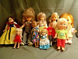 LOT OF 10 VINTAGE MID-SIZE DOLLS, MOSTLY PLAYMATES HONG KONG