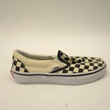 New Vans Womens Black Cream Checkerboard Classic Slip On Canvas Shoes Size 5.5