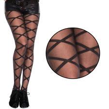 Sheer Fishnet Cutout Net Criss Cross Stripe Black Stocking Tights Full Pantyhose