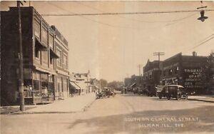 H46/ Gilman Illinois RPPC Postcard 1921 Central St Stores Automobiles