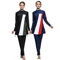 3pcs Women Muslim Full Cover Stripes Modest Swimwear Burkini Swimming Beachwear