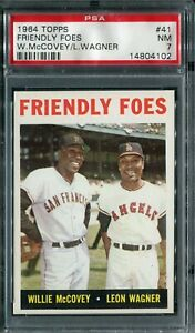 1964 Topps #41 Friendly Foes W.McCovey/L.Wagner PSA 7 NM