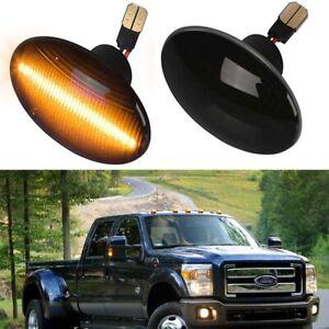 For Ford F350 F450 F550 Super duty Smoke Lens Amber Fender LED Side Marker Light