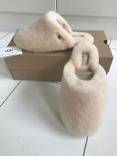 UGG Australia Fluff Sheepskin Slippers Clog Cream UK 7.5/ 6.5 NEW AND BOXED