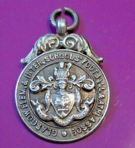 Vintage Sterling Silver Fob Glasgow Schools Football Medal 1930 J McMenamin Ltd