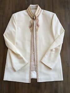Men's Traditional Ivory Hand Embroidered Sherwani Suit Jacket and Pants