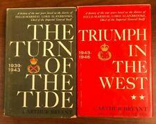 Lot of 2, Arthur Bryant Turn of the Tide, Triumph in the West, WW II HB/DJ