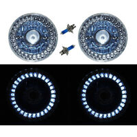 5-3/4 Halogen White LED Ring Halo Angel Eyes Projector Headlight Light Bulb Pair