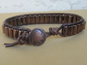 Handmade Mens Magnetic Brown Leather Copper Magnetic Bracelet with Indian button