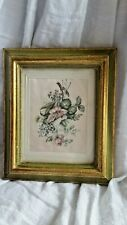 VINTAGE LGN FLORENCE FRAMED LAVENDER FLOWER PICTURE MADE ITALY PRINTED ON SILK