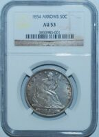 1854 NGC AU53 Seated Liberty Half Dollar With Arrows