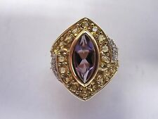 10k Yellow Gold Diamond Accent Purple Amethyst Cocktail ring.