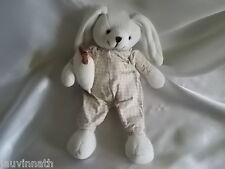 Doudou lapin tricot, vêtement blanc/beige, coussin, Doudou et compagnie (cie)