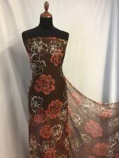 "NEW Italian 100% Silk Crinkle Chiffon Floral Print Fabric 55""139cm Dress Scarf Q"
