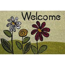 Bayliss GARDEN PATTERN COIR DOOR MAT PVC Back 40x60cm, WELCOME FLOWERS DESIGN
