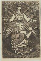 WEIHNACHTEN Orig. Kupferstich Weihnachtskarte um 1940 Santa LUCIA Schaukelpferd