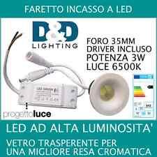 FARETTO FARO AD INCASSO LED 3W LUCE BIANCA FREDDA  1 LED ALTA LUMINOSITA' LED 3W