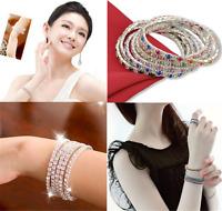 Elastic Tennis Rhinestone Wedding Bridal Bangle Stretch Bracelet Silver Fashion