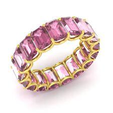 Certified 8.74 Ct Emerald Cut Tourmaline 18k Yellow Gold Full Eternity Band Ring