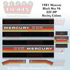 1981 Mercury 225HP V6 Black Max Outboard Repro 16Pc Marine Racing Color Decals