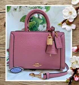 NWT COACH MICRO ZOE Mini Satchel Crossbody Handbag In ROSE PINK Pebbled Leather