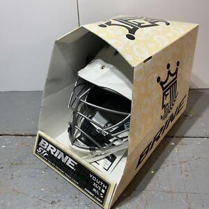 New Brine STR White Lacrosse Helmet Youth M/L w/ Try Fit Memory Foam Liner