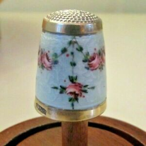 GREAT! Vintage German Sterling Guilloche Enamel Thimble Painted Rose Swag