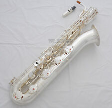 Professional Silver Plated Baritone Saxophone Bari sax Low A to High F# New Case