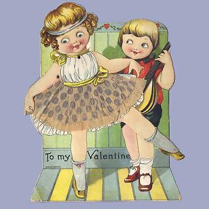 Vintage Valentine Card VALENTINE'S DAY Dancer LUTE PLAYER Mechanical GERMANY