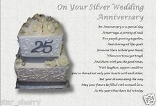 SILVER WEDDING ANNIVERSARY GIFT  - Personalised Poem  (Laminated Gift)