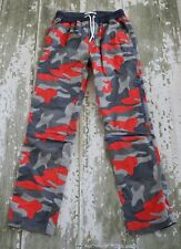 MINI BODEN Camouflage Zip Off Convertible Techno Cargo Pants Red Gray 14 164