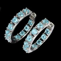Round Neon Blue Apatite 3.5mm 14k White Gold Plate 925 Sterling Silver Earrings