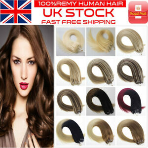 14''-24'' Double Drawn Micro Beads Ring Loop Human Remy Hair Extensions 1g/s UK