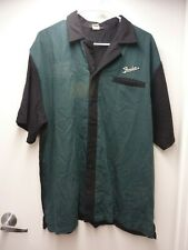 Vtg Vibroverb Amp Embroidered Fender Guitars Mens L Green Black Bowling Shirt