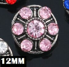 SMALL SNAP * PINK STONE Snap Chunk 12MM Interchangeable Jewelry