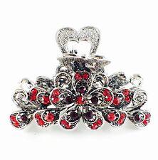 VINTAGE Hair Claw Clip Rhinestone Crystal Hairpin Flower Metal Elegant RED 005