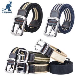 KANGOL Men Women Belt Nylon Canvas Belt Metal Buckle Universal Pants Jean Casual