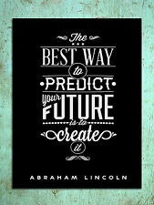 Metal Sign Inspirational predict create the future quote tin wall plaque gift