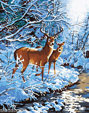 """16X20"""" DIY Paint By Number Kit Oil Painting On Canvas Xmas Deers Snow Forest 539"""
