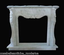 Cornice Caminetto Camino Marmo Bianco Carrara Marble Fireplace Luigi XV L.130cm