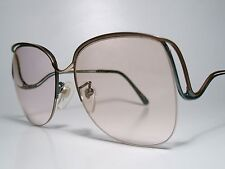"NOS Vintage Ladies ""TURA"" Cord Rimless Sun/ Eyeglasses Frame Green/Brown 55-17 M"