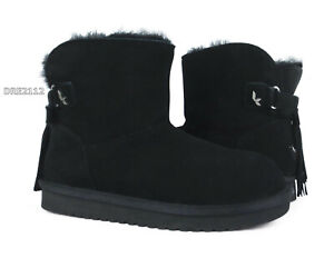 Koolaburra by UGG Jaelyn Mini Black Suede Fur Women's Boots All Sizes *NIB*